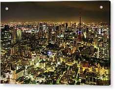 Cityscape At Night Acrylic Print by Agustin Rafael C. Reyes