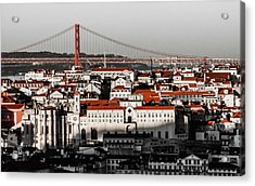 Lisbon In Black, White And Red Acrylic Print