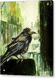 Cityscape With A Crow Acrylic Print