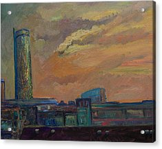 Cityscape With Tower Acrylic Print by Maris Salmins