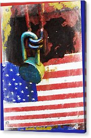 Civil Rights And Wrongs Home Land Security Flag And Lock 2 Acrylic Print by Tony Rubino