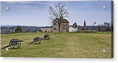 Civil War Cannons And Henry House At Manassas Battlefield Park - Virginia Acrylic Print by Brendan Reals