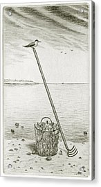 Clamming Acrylic Print by Charles Harden