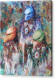 Acrylic Print featuring the painting Clan Dancers by Li Newton