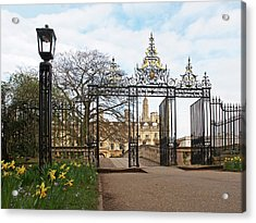 Acrylic Print featuring the photograph Clare College Gate Cambridge by Gill Billington