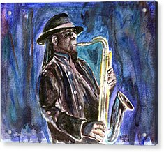 Acrylic Print featuring the painting Clarence Clemons by Clara Sue Beym