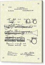 Clarinet 1897 Patent Art  Acrylic Print by Prior Art Design