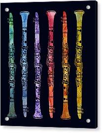 Clarinet Rainbow Acrylic Print by Jenny Armitage