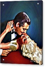 Clark Gable And Jean Harlow, Embrace, Digital Art By Mary Bassett Acrylic Print