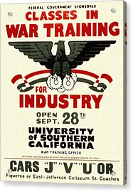 Classes In War Training For Industry - Vintage Poster Restored Acrylic Print