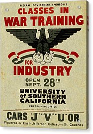 Classes In War Training For Industry - Vintage Poster Vintagelized Acrylic Print