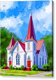 Classic American Church - Oglethorpe Lutheran Acrylic Print by Mark Tisdale