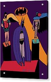 Classic Batman, Robin And Batgirl Acrylic Print by John Lavernoich