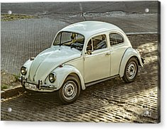 Classic Beetle Car Parked On Street Acrylic Print by Daniel Ferreira-Leites