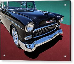 Classic Black And White 1950s Chevy Bel Air Acrylic Print