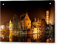 Classic Bruges At Night Acrylic Print