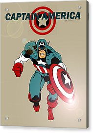 Classic Captain America Acrylic Print by Mista Perez Cartoon Art