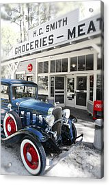Classic Chevrolet Automobile Parked Outside The Store Acrylic Print by Mal Bray