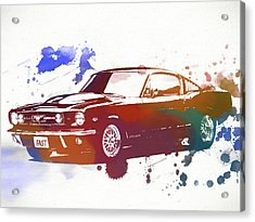 Classic Ford Mustang Watercolor Splash Acrylic Print by Dan Sproul
