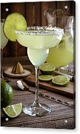 Acrylic Print featuring the photograph Classic Lime Margaritas On The Rocks by Teri Virbickis