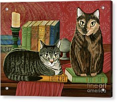 Acrylic Print featuring the painting Classic Literary Cats by Carrie Hawks