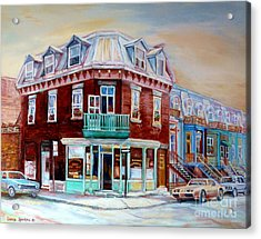 Classic Montreal Storefront Painting Peloponissos Pizza Bakery Neighborhood Memories Canadian Art  Acrylic Print by Carole Spandau