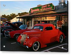 Classic Red Car In Front Of The Sycamore Acrylic Print