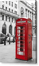 Red Telephone Box In London England Acrylic Print by John Williams