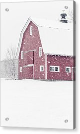 Acrylic Print featuring the photograph Classic Red New England Barn During A Snowstorm by Edward Fielding