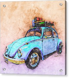 Classic Road Trip Ride Watercolour Sketch Acrylic Print