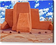Classic View Of Ranchos Church As Oil Acrylic Print by Charles Muhle