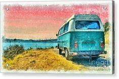 Acrylic Print featuring the digital art Classic Vw Van Surfer Bus At Sunset Watercolor by Edward Fielding