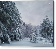 Classic Winter Scene In New England  Acrylic Print