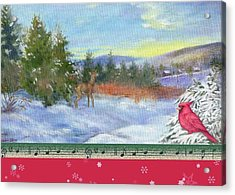 Classic Winterscape With Cardinal And Reindeer Acrylic Print