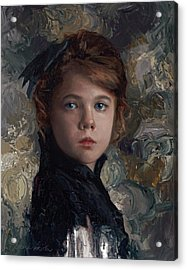 Acrylic Print featuring the painting Classical Portrait Of Young Girl In Victorian Dress by Karen Whitworth