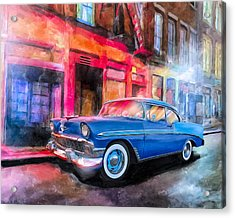 Classic Nights - 56 Chevy Acrylic Print by Mark Tisdale