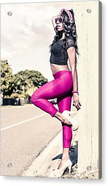 Classy Model In Elegant Fashion Outfit By Road Acrylic Print by Jorgo Photography - Wall Art Gallery