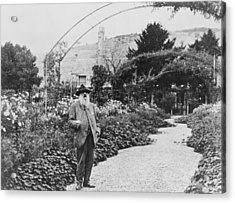 Claude Monet In His Garden Acrylic Print by French School