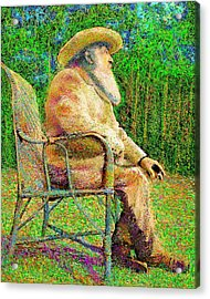 Acrylic Print featuring the painting Claude Monet In His Garden by Hidden Mountain