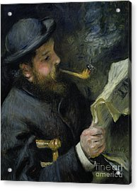Claude Monet Reading A Newspaper Acrylic Print by Pierre Auguste Renoir