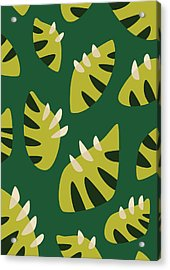 Clawed Abstract Green Leaf Pattern Acrylic Print