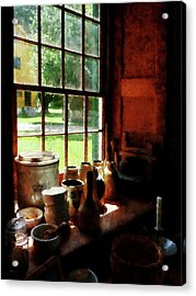 Acrylic Print featuring the photograph Clay Jars On Windowsill by Susan Savad