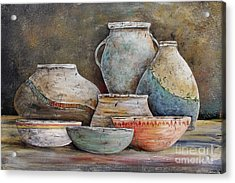 Acrylic Print featuring the painting Clay Pottery Still Lifes-a by Jean Plout
