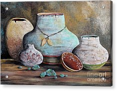 Acrylic Print featuring the painting Clay Pottery Still Lifes-b by Jean Plout