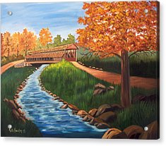Claycomb Covered Bridge Sold Acrylic Print by Ruth  Housley