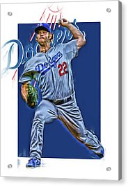 Clayton Kershaw Los Angeles Dodgers Oil Art Acrylic Print by Joe Hamilton