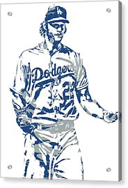 Clayton Kershaw Los Angeles Dodgers Pixel Art 10 Acrylic Print