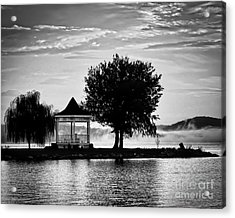 Claytor Lake Gazebo - Black And White Acrylic Print