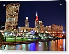 Cle Over The Cuyahoga Acrylic Print by Frozen in Time Fine Art Photography