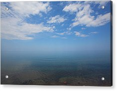 Clear Blue Waters With Clouds, Lake Superior Acrylic Print